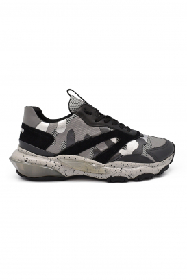 Valentino Bounce sneakers in grey, black and silver camouflage leather and fabric with oversized sole