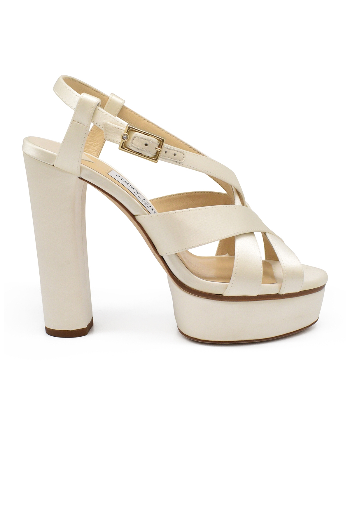 Jimmy ChoO Caress 125 high sandals in cream color satin