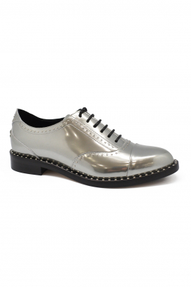 Jimmy Choo Reeve lace-up derbies in silver mirror liquid leather with micro studs on the upper and the sole
