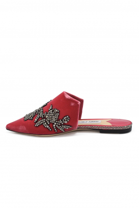Jimmy Choo Rachel mules in pink velvet with peony crystals