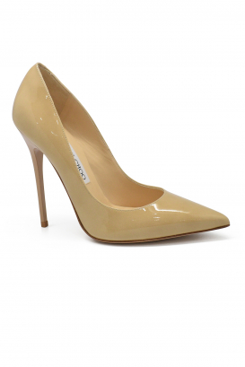 Jimmy Choo Anouk pumps in nude patent leather with pointy toe, double ankle strap and very high heel
