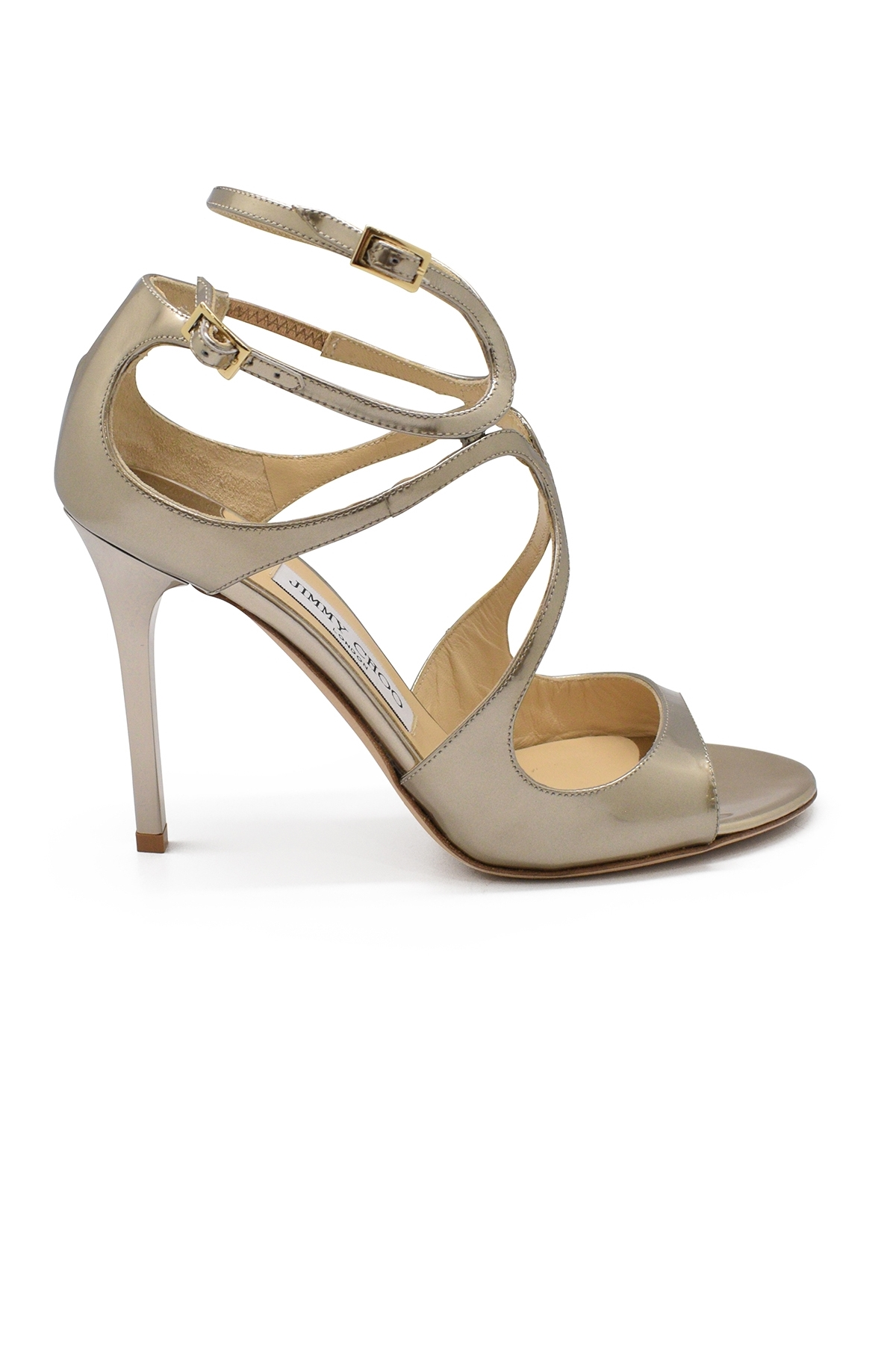 Jimmy Choo Lang in champagne mirror liquid leather with high heel