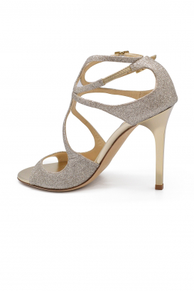 Jimmy Choo Lang in gold platinium glitter leather with double ankle strap