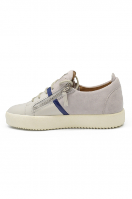Giuseppe Zanotti lace-up sneakers in grey suede with blue patent leather strip, side zip closures and black rubber sole