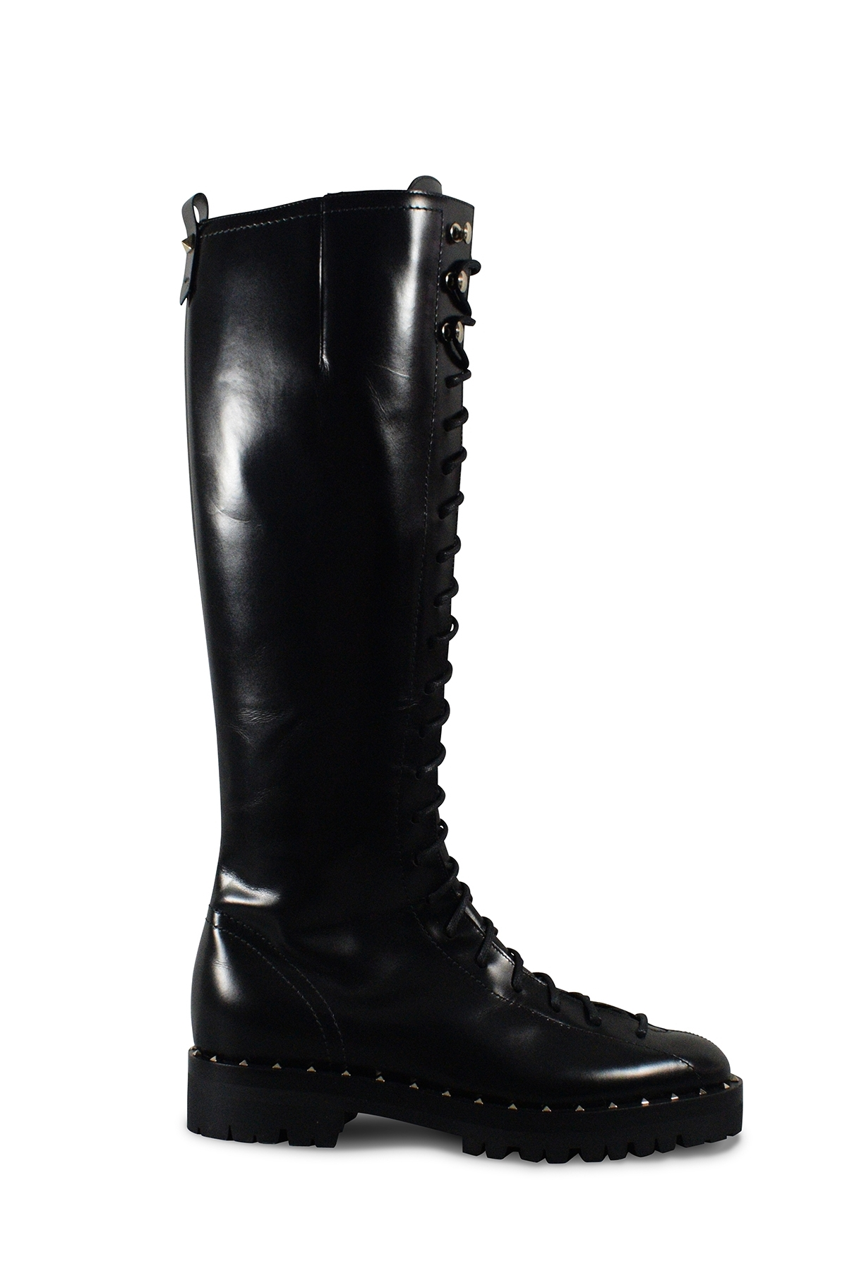 Valentino Soul Rockstud lace-up boots in black shiny leather with platinium finish studs on the notched rubber sole