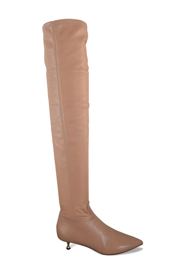 Valentino over-the-knee boots in stretch nude leather with little golden twisted heel