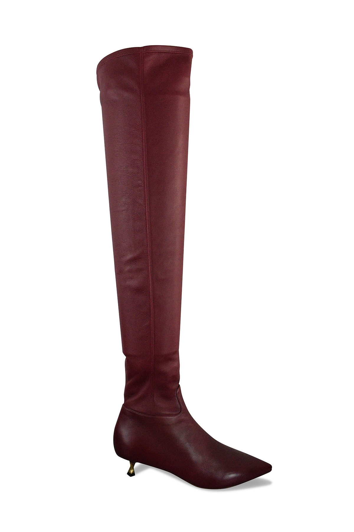 Valentino boots in stretch bordeaux leather with little golden twisted heel
