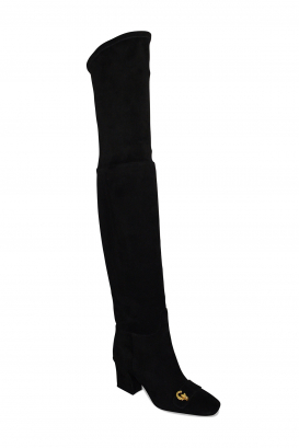 Dior over-the-knee boots in black suede with golden CD buckle on the front and high heel