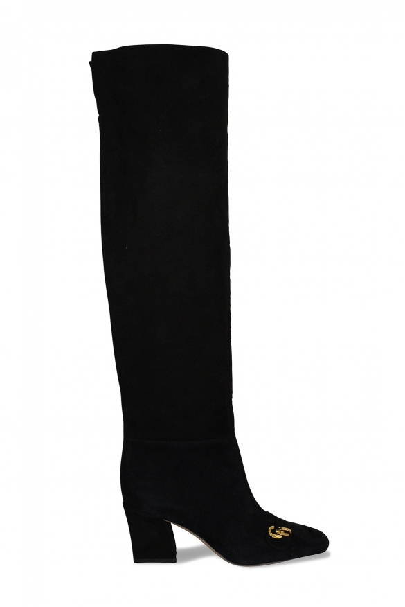 Dior boots in black suede with golden CD buckle on the front and high heel
