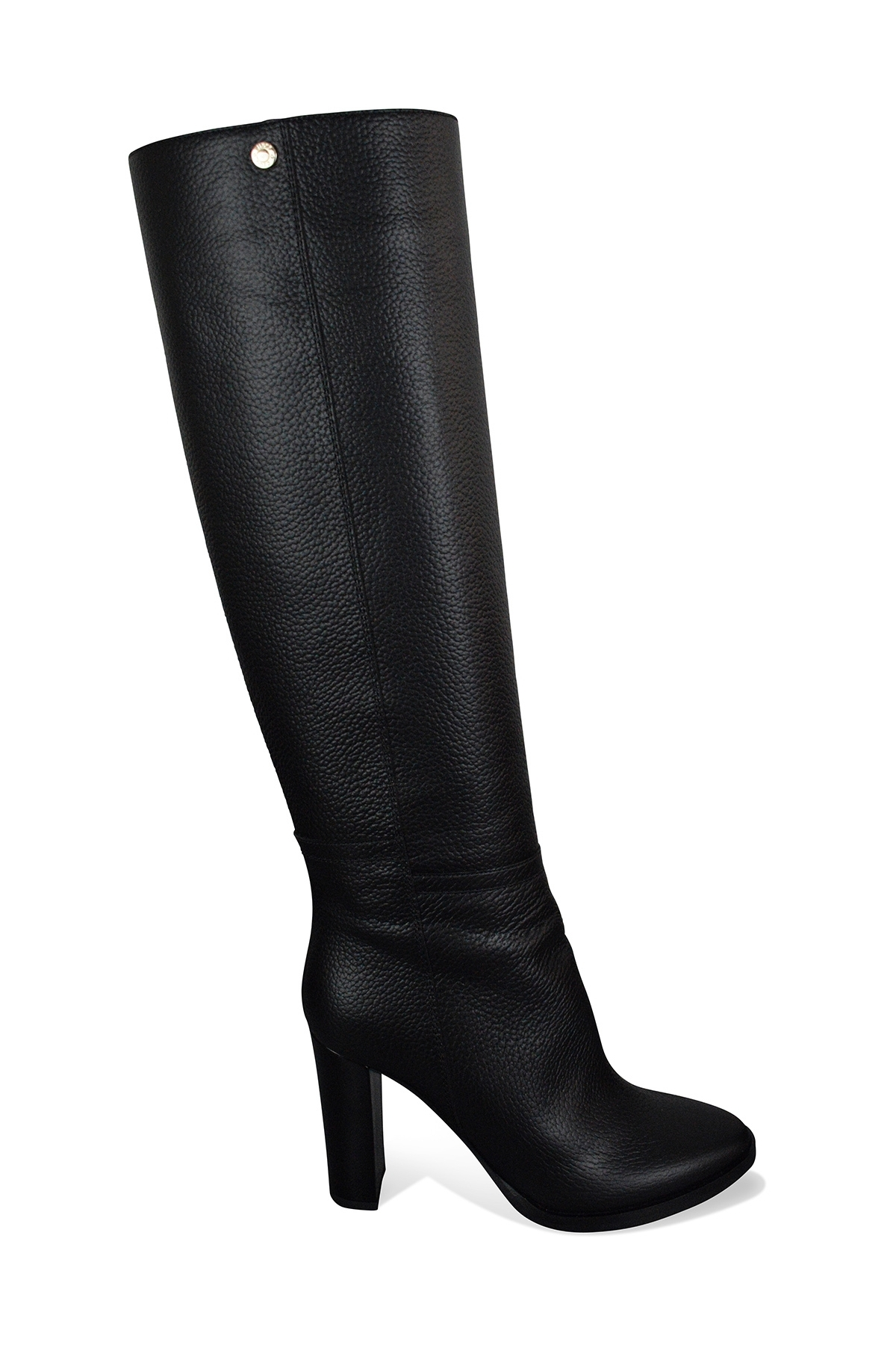 Jimmy Choo Haywood 95 boots in black grained leather with high patent leather heel and notched rubber sole
