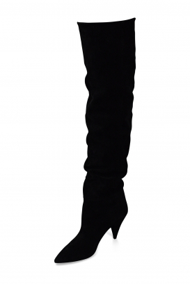 Saint Laurent Era 85 over-the-knee boots in black suede with low heel