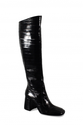 Saint Laurent Block boots in black eel skin with thick heel and square toe