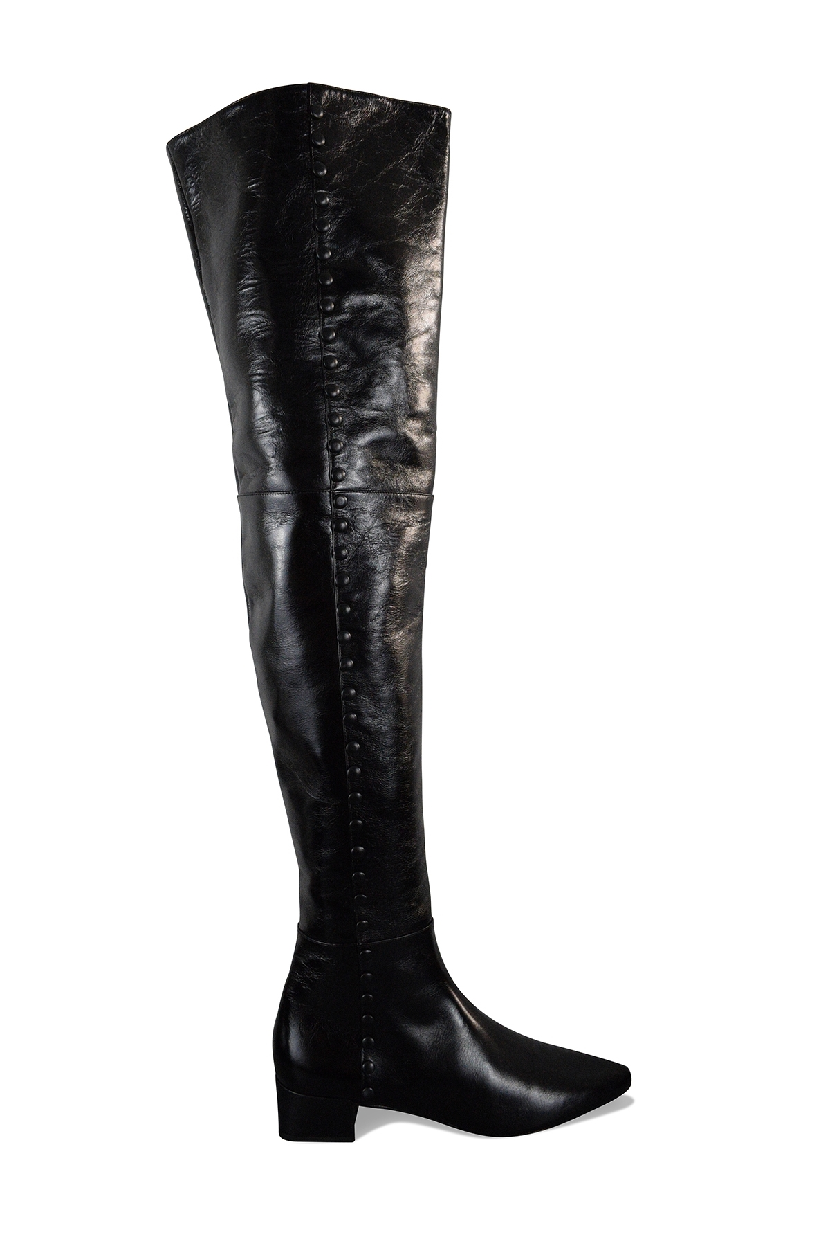 Saint Laurent over-the-knee boots in black shiny leather with decorative buttons