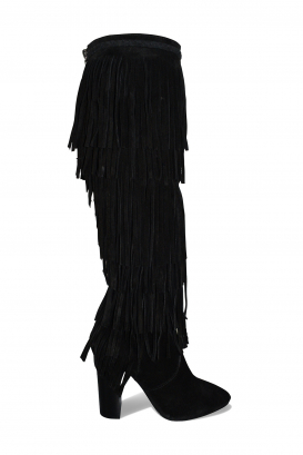 Saint Laurent fringes boots in black suede with high heel and zip closure