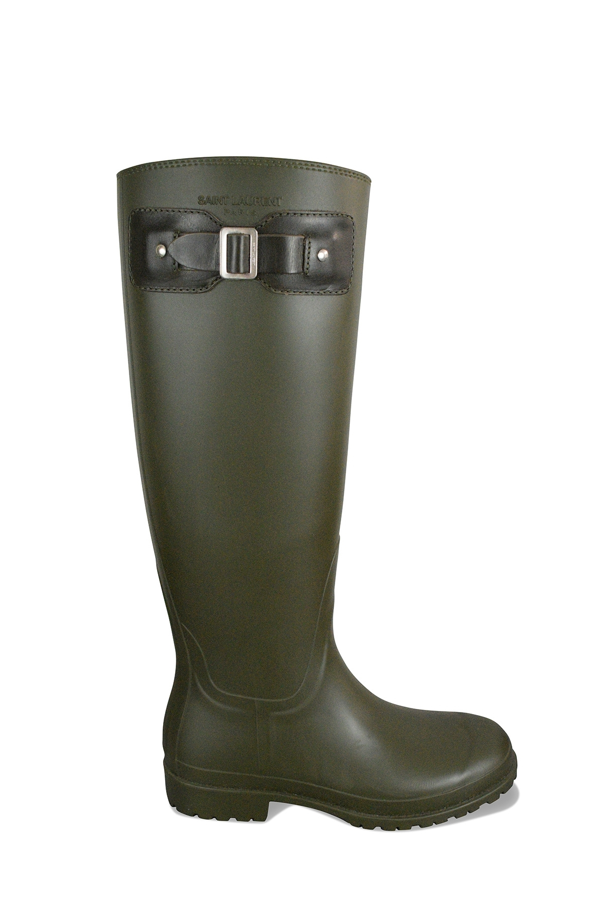 Saint Laurent kaki rubber boots with leather strap with buckle at top outer side