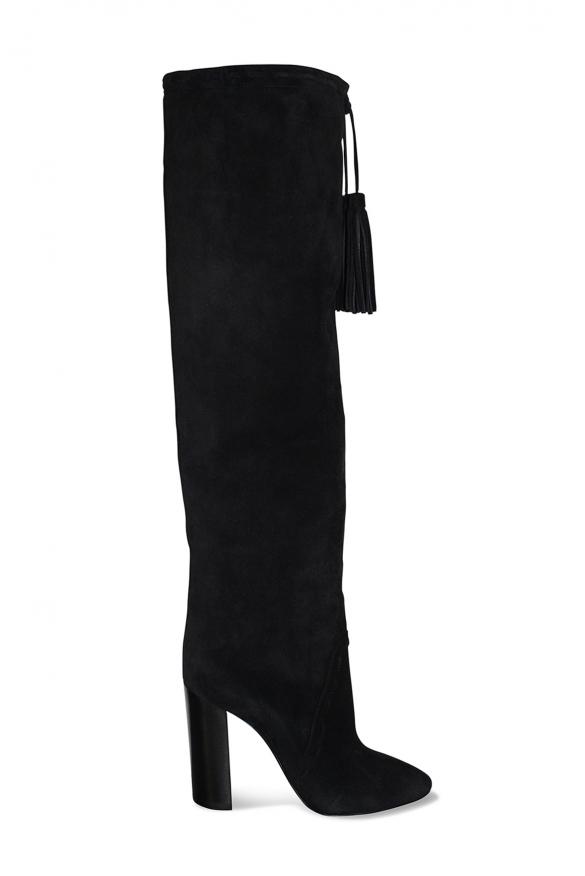 Bottes cuissardes Saint Laurent en daim noir haut talon avec pompon décoratif