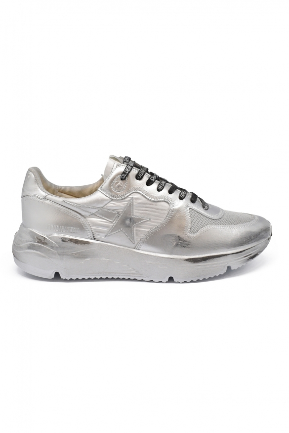 Golden Goose lace-up sneakers in silver metallic leather with tone on tone star and customized silver sole