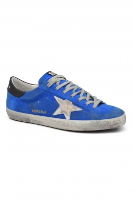 Golden Goose Supertar sneakers in blue suede with silver miror liquid leather star and black leather heel tab