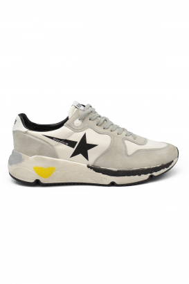 Golden Goose lace-up sneakers in beige lycra and suede with black star and customized oversize sole