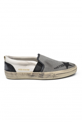 Golden Goose Seastar sneakers in grey fabric, white leather, grey suede with black printed star
