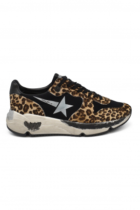 Golden Goose lace-up sneakers in foal with leopard prints, white star, black leather heel tab and oversized sole