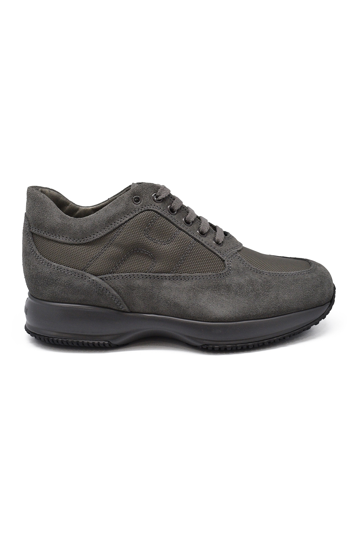 Hogan Interactive N20 sneakers in grey suede and brown technical fabric.