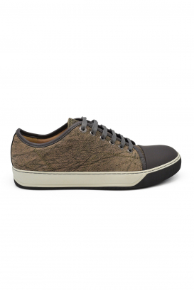 Lanvin sneakers in brown marbled leather with grey rubber toe and white rubber sole