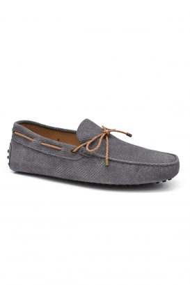 Tod's loafers in grey leather with braided brown laces and spiked rubber sole