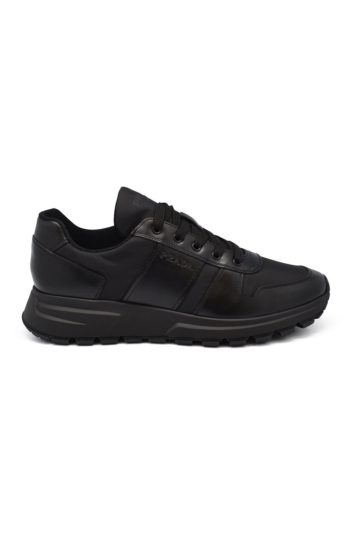 Brushed fabric and leather sneakers