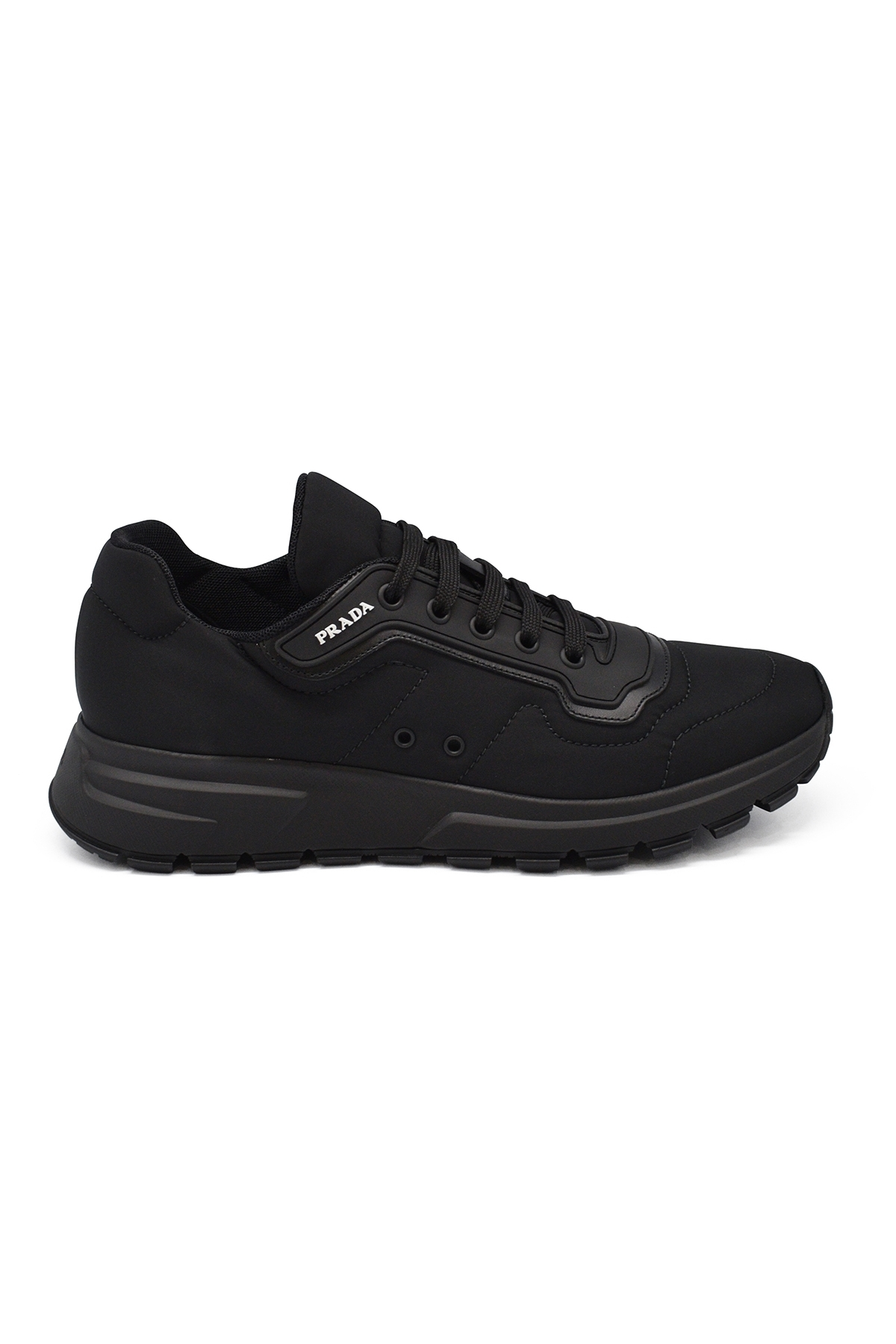 Prada black lace-up sneakers in fabric and leather with white Prada logo and rubber sole