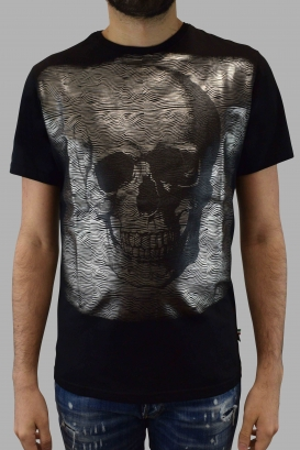 Philipp Plein black short sleeves t-shirt with silver iridescent skull on the front and 1978 Philipp Plein iridescent logo on th
