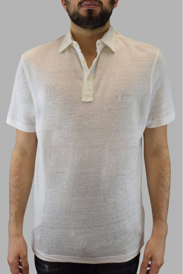 Salvatore Ferragamo polo in beige linen and neck with buttons