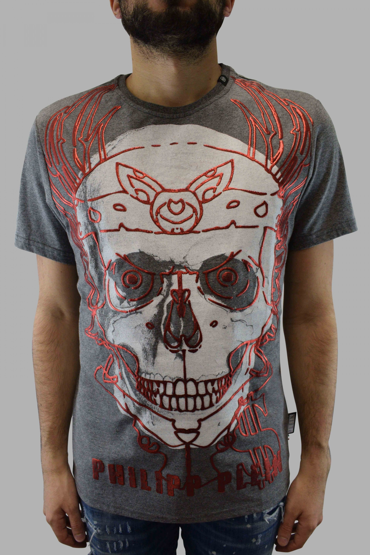 Philipp Plein grey short sleeves t-shirt with white skull and red glittered drawings