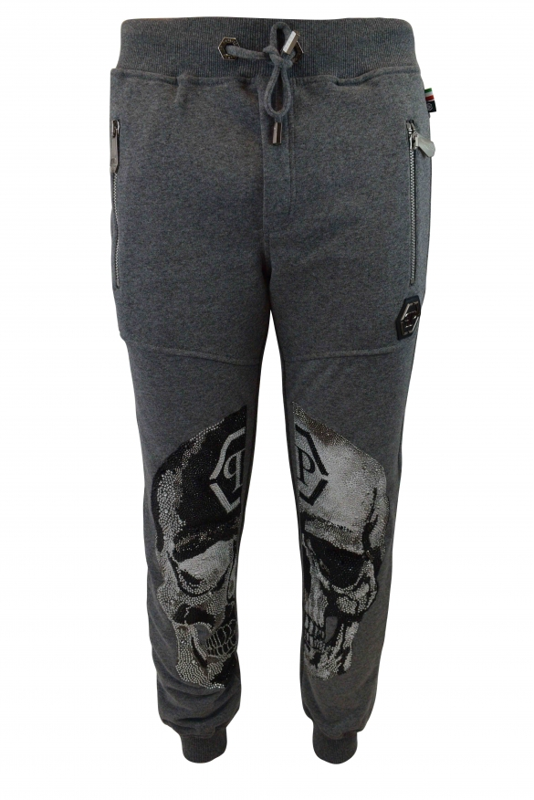 Philipp Plein grey joggers with black and white skulls on the knees