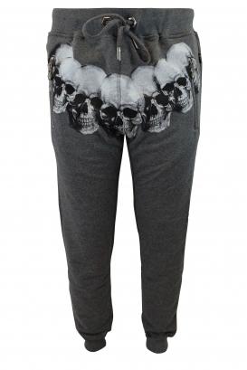 Philipp Plein grey joggers with white skulls on the waist and zipped pockets