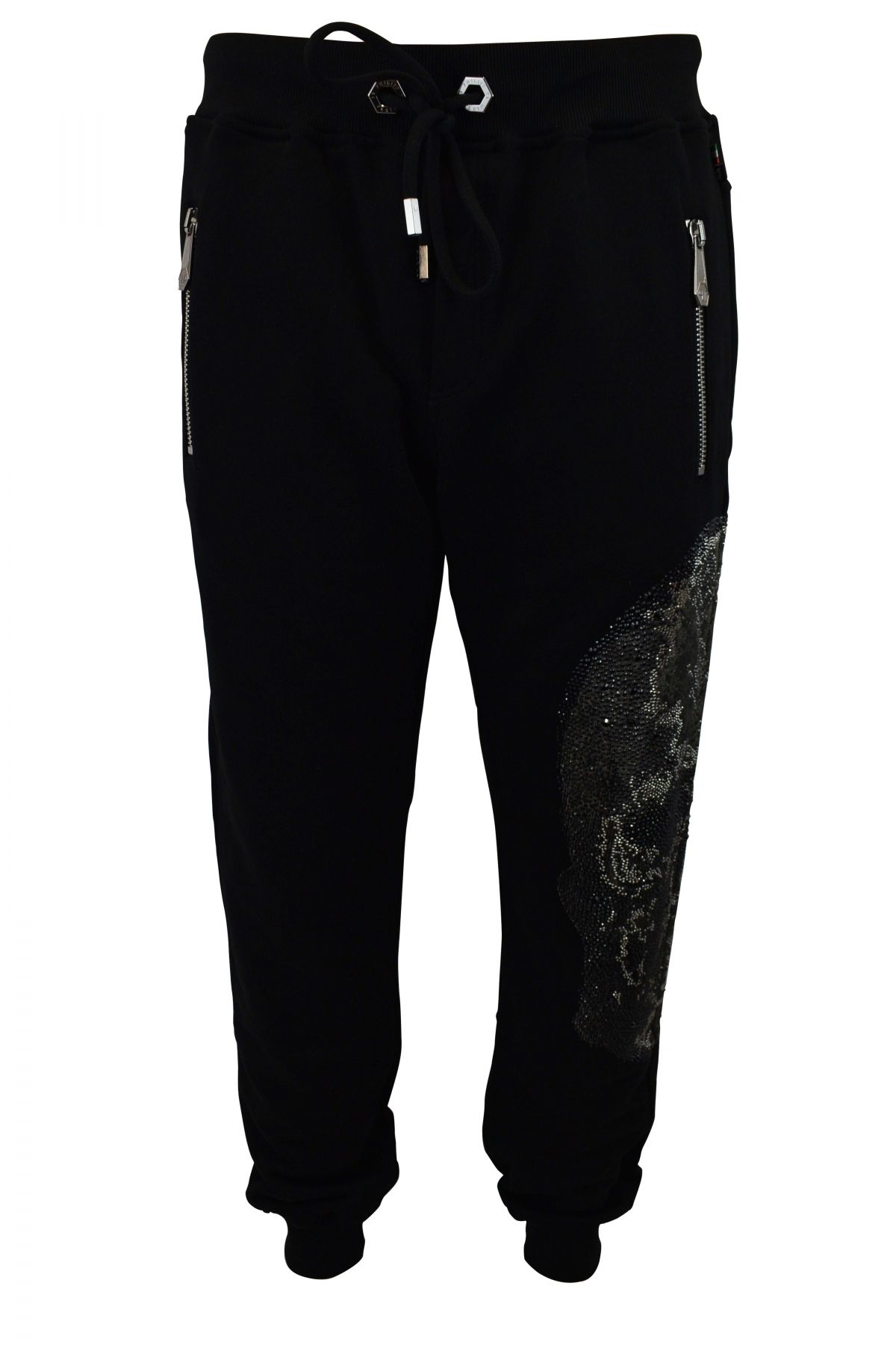 Philipp Plein black joggers with full strass skull python effect on one leg and zipped pockets