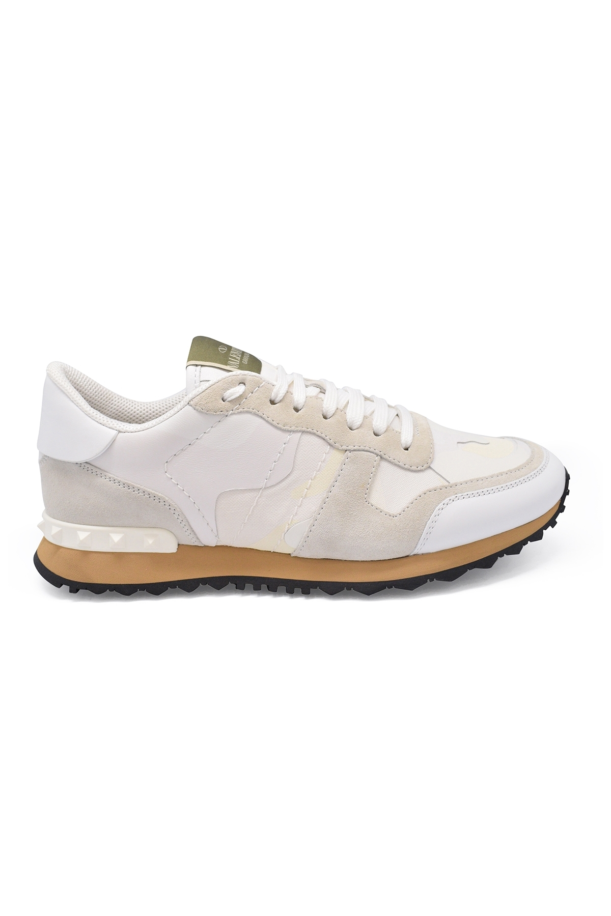 Valentino Rockrunner camouflage sneakers in white and beige fabric and nappa