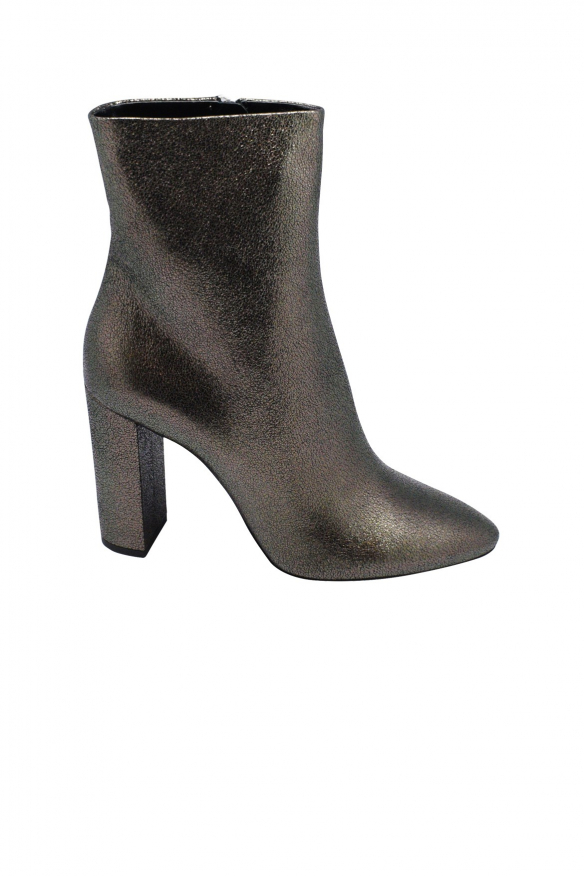 Saint Laurent Lou zipped boots in anthracite metallic leather with high heel