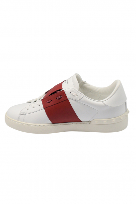 Valentino Open sneakers in white leather with red strip
