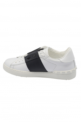 Valentino Open sneakers in white leather with blue strip