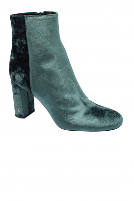 Saint Laurent Loulou ankle boots in green /blue velvet with side zips and gold YSL signature on the heel