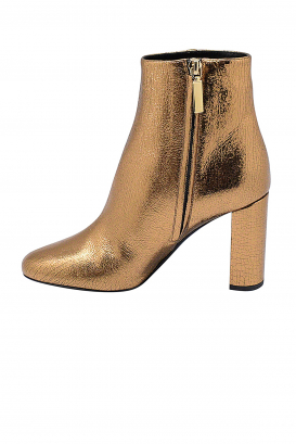 Saint Laurent Loulou ankle boots in gold leather with side zips and gold YSL signature on the heel