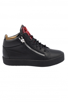 Giuseppe Zanotti Kriss mid-high sneakers in black leather with red and white signature on the tongue